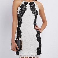 FLORAL LACE BIB NECK BODYCON DRESS