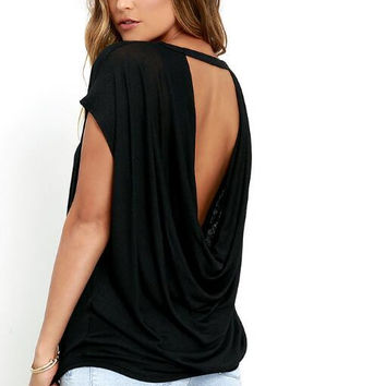 New summer sexy Women Solid Color Backless short sleeve T-shirt -0626
