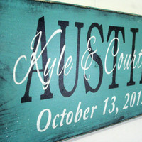 Personalized Name Sign Custom Name Sign Family Name Sign Wedding Anniverary Distressed Wood Rustic Shabby Chic Cottage Chic Handmade Teal