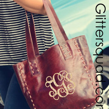 Monogram 100% Chic Casual Modern Ox Blood Leather Bag / Tote / Sack /  Bedstu high end bag / Anniversary Gift / Birthday Gift /