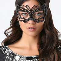bebe Womens Black Crystal Mask Jet Black