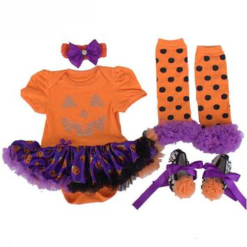 Baby Infant Girls Halloween Costumes Baby Girls Boys Rompers First Birthday Pumpkin Jumpsuits Role-play Party Wear 3 6 9 12 18M