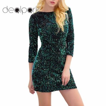 Sexy Shiny Glitter Party Dresses Women Bodycon Dress Mini Sequin Dress 3/4 Sleeve Plunge Back Evening Clubwear female gowns