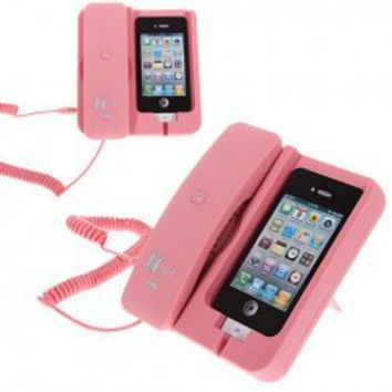 KK-02 Handset Dock Stand with Hands Free for iPhone 4,4S,3G/3GS,iPhone 5 (Pink) China Wholesale - Everbuying.com