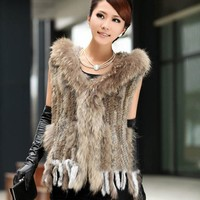 2017 New Women Real Knit Rabbit Fur Vest Hooded With Genuine Racoon Fur Tassel Gilet Winter Warm Natural Rabbit Fur Jacket w1990