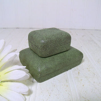 Antique SeaFoam Green Textured Pair of 2 Jewelry Cases - Vintage Ballou Jeweler Presentation Boxes with Green Velvet Interiorsfor Display