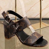 LV Louis Vuitton 2018 Summer New Gold LV Letter Buckle Coarse High Heel Sandals F-ALS-XZ coffee