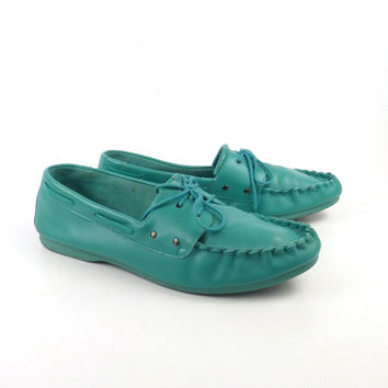 Turtles Boat Shoes Vintage 1980s Mens Teal Giorgio Brutini Leather Size 9