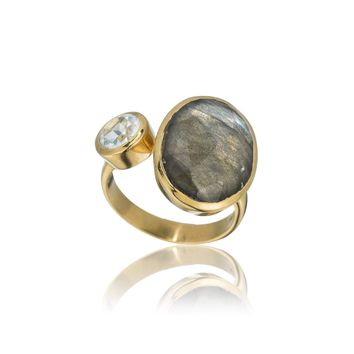 Ashley Schenkein Jewelry Kyoto - Double Bezel Gemstone Adjustable Ring In Gold