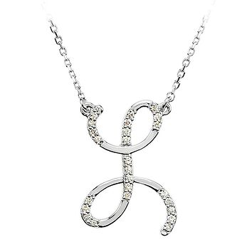 1/8 Ct Diamond 14k White Gold Medium Script Initial L Necklace, 17in