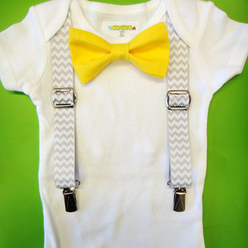 Baby Boy Clothes - Yellow Bow Tie Baby Outfit - Suspenders & Bow Tie Bodysuit - Baby Tuxedo - Grey Chevron Suspenders - Interchangeable