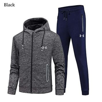 Under Armour Autumn and winter sports and leisure cardigan Hooded men's sweatpants two-piece Black