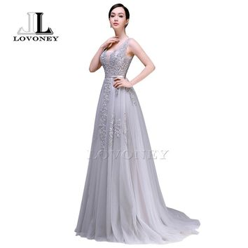 LOVONEY 2017 Sexy V-Neck Tulle Appliques Long Evening Dresses Prom Gown Formal Party Dresses Vestido De Festa Longo S301