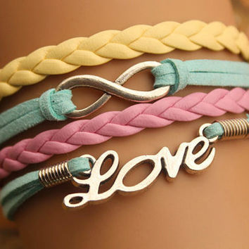 karma bracelet,retro silver infinity and little love letters bracelet,yellow and pink leather braid---B251