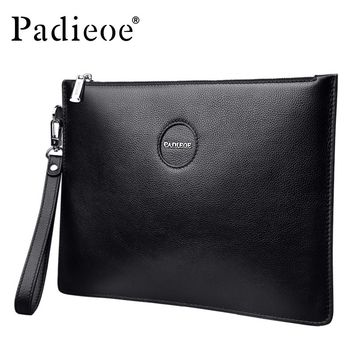 Genuine Leather Business Men Day Clutches Bag Large Capacity Envelope Men Handbags for Phone Casual Money Pocket