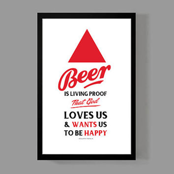 Man Cave - Custom Beer Quote Poster - Beer Is Living Proof