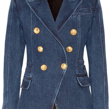 Balmain - Double-breasted denim blazer