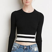 Striped-Hem Crop Top