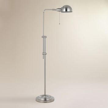 Brushed Steel Crosby Pharmacy Floor Lamp - World Market