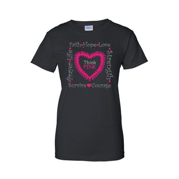 "Juniors ""Think Pink"" Breast Cancer Awareness T-shirt"