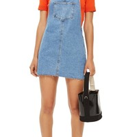 Topshop Raw Hem Denim Pinafore Dress (Petite) | Nordstrom