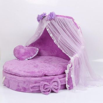 Free shipping Mewmew Luxury Dog Kennels Princess Bed Lovely Cool Dog Pet Cat Beds Sofa Teddy House Suede Fabric lace pet bed