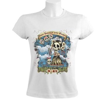 Skull Skulls Halloween Fall 2017 Newest Fashion Women'S Crew Neck Short Sleeve Christmas Sugar  Day Of The Dead Mexican Gothic Shirt Calavera
