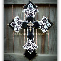Large Wall CROSS - 3 layers - Black & White Floral
