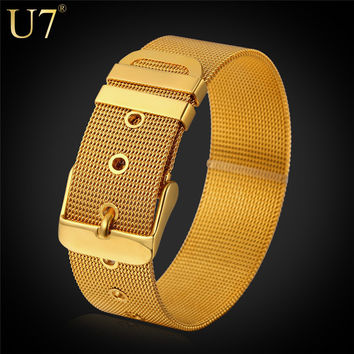 18k Gold Plated Watchband Style Chain Bracelet Men and Women Jewelry