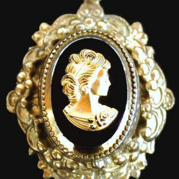 Victorian Revival Cameo Charm, Black Glass Set In Gold Tone Metal, With Gold Portrait