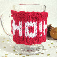 Christmas Coffee Mug Cozy – Ho Ho Ho Coffee Mug – Stocking Stuffer – Santa Mug Cozy – Festive Home Décor – Christmas Gift Under 20 - Knit