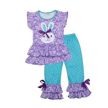 Easter Day New Girls Spring Clothes Lovely Bunny Pattern T-shirts Colorful Ruffle Polka Dot Pants Children Clothing Set E009
