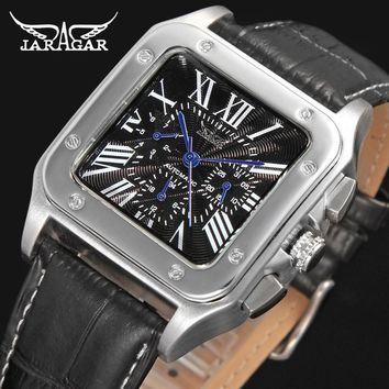 Jargar  JAG6902M3S2 Automatic  dress wristwatch silver color with black leather steel  band for men hot selling free shipping