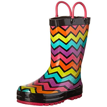 Western Chief Girls Funny Stripe Toddler Colorblock Rain Boots