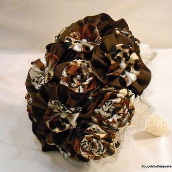 Custom Leopard Animal Print with Chocolate & Lace Wedding Bouquet