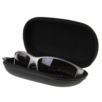 New Zipper Capsule Sunglasses Eyewear Case Nylon Pouch w/ Key Chain (Black) 1006