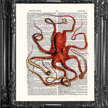 Red OCTOPUS ART-Dictionary Print Vintage Book Print Page Art-Upcycled Antique Book Page-Print On Dictionary Book Page-Upcycled Book Page