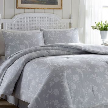 Laura Ashley Lifestyles Garden Paradise 4-pc. Reversible Comforter Set (Grey)