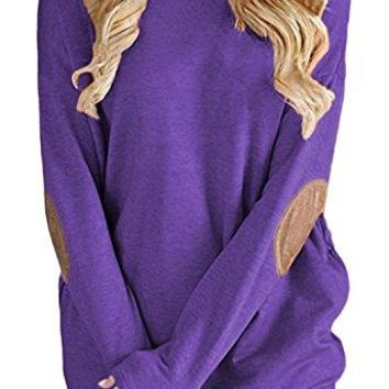 BLUETIME Womens Elbow Patch Crewneck Shirts Casual Loose Long Sleeve Pullover Tops Blouse