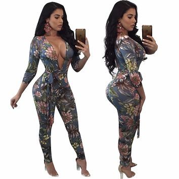 Women Autumn Bow jumpsuit Body Flower Pattern V-neck bodysuit clothes Zipper Print