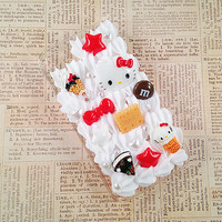 Clear iPhone 4/4S Case - Sweets Deco Case - Chocolate Decoden Hard Case - Pastries, Hello Kitty, Candy, Bow - Whipped Cream - Snap On Case