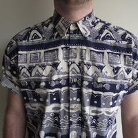 Mens 90's Print Short Sleeve Oxford Collar Button Down With Front Pocket