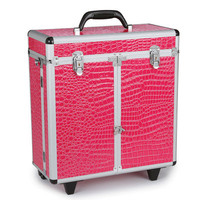 Top Performance Faux Croc Grooming Tool Case with Wheels in Hot Pink