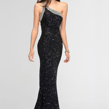 PRIMA Glitz GXL1405 Sequin One Shoulder Prom Dress