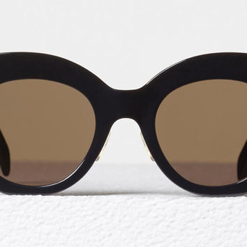 Celine - Chris Black Acetate Sunglasses, Brown Lenses