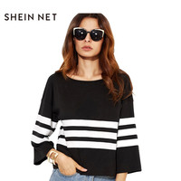 Sheinnet Color Block Stripe T-Shirt Women O-Neck Wide Sleeve Loose Casual Tops Street Brief Style Soft Female Tees Women