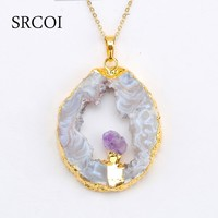Irregular Hollow Out Of Agate Slice Necklace With Amethyst Pendant Necklace Gold Plated Druzy Jewelry Natural Stone Pendant