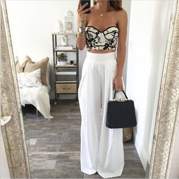 Loose Casual Pure Color Wide Leg Pants