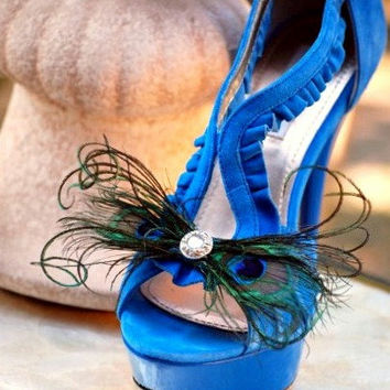 Shoe Clips Peacock Feather Bow. Bride Bridal Bridesmaid, Steampunk Sophisticated, Teal Emerald Green Iridescent Metallic Rhinestone or Pearl