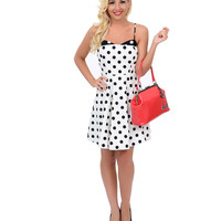 White & Black Polka Dot Color Block Fit N Flare Dress